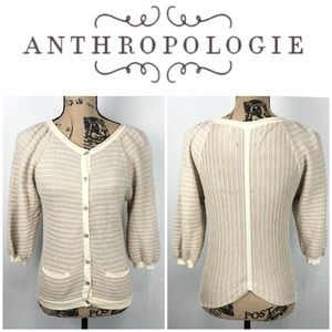 Anthro Guinevere Linear Gleam Cardigan Sweater XS
